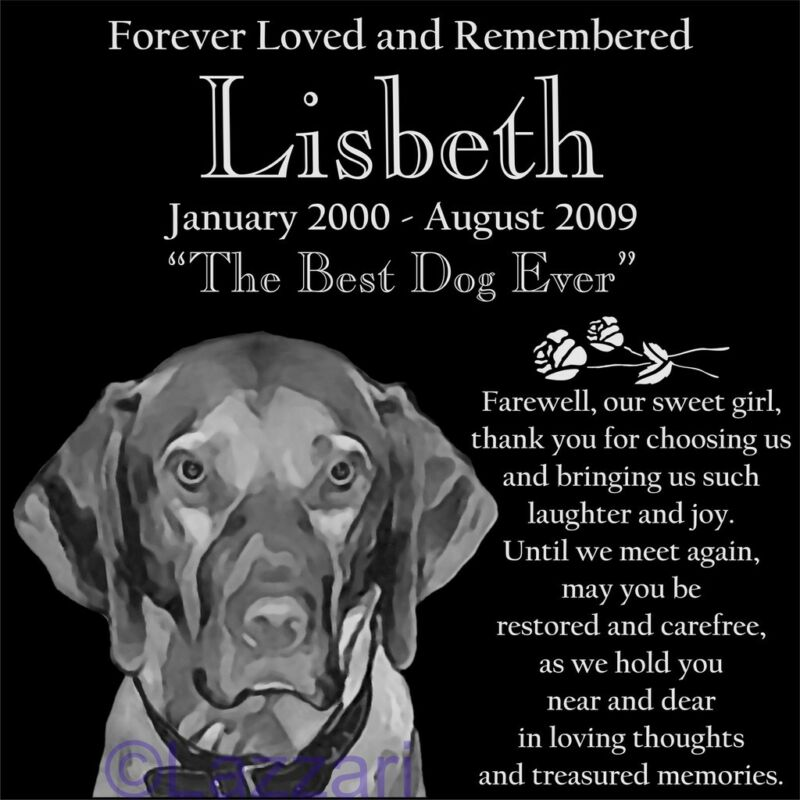 Personalized Vizsla Dog Pet Memorial 12x12 Granite Headstone Grave Marker Stone