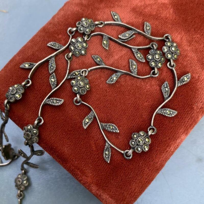 Delicate Vtg Sterling Silver Marcasite Floral Flower Choker Necklace