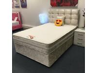 BRAND NEW CRUSH SILK VELVET BED WITH HEADBOARD AND MATTRESS