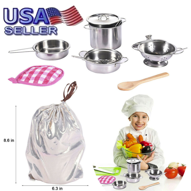 Kids Kitchen Playsets 12 Pcs Stainless Steel Pots And Pans W