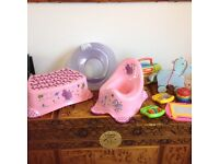 Potty,step, Toilet seat. and toys