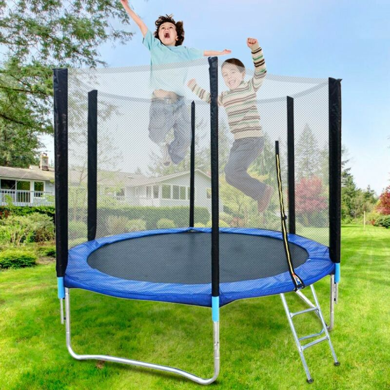 8FT Kid Trampoline With Safety Enclosure Net Jumping Mat Spr