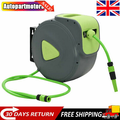 Automatic Retractable Water Hose Reel Wall Mounted 30+2m Storage Garden Tool