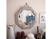beautiful antique oak mirror. The frame has been painted in Autentico's reindeer . (1184)