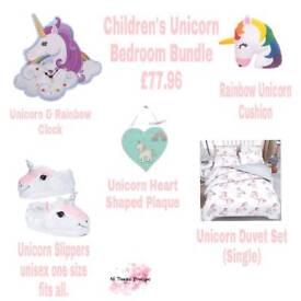 Children's Unicorn bedroom Bundle