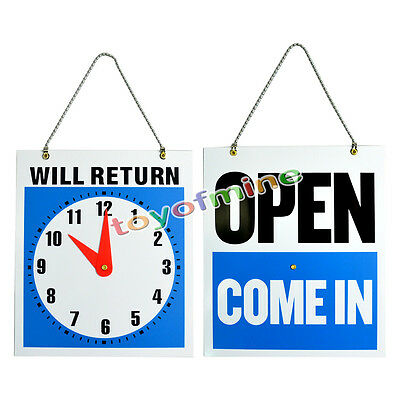 Open Closed Sign Will Return Clock Business Hours Hanging 2-sided 8.7x7