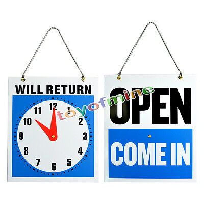 OPEN CLOSED Sign / WILL RETURN + CLOCK : Business Hours �Hanging 2-Sided 8.7x7�