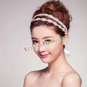 New Wedding Bridal Beaded Rhinestone Crystal Headband Headpiece HairBand Ribbon
