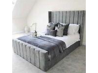 ⭐️🌟✨Spring Sale On⭐️🌟✨KING SIZE PLUSH VELVET ROYAL WING BED FRAME w OPTIONAL MATTRESS