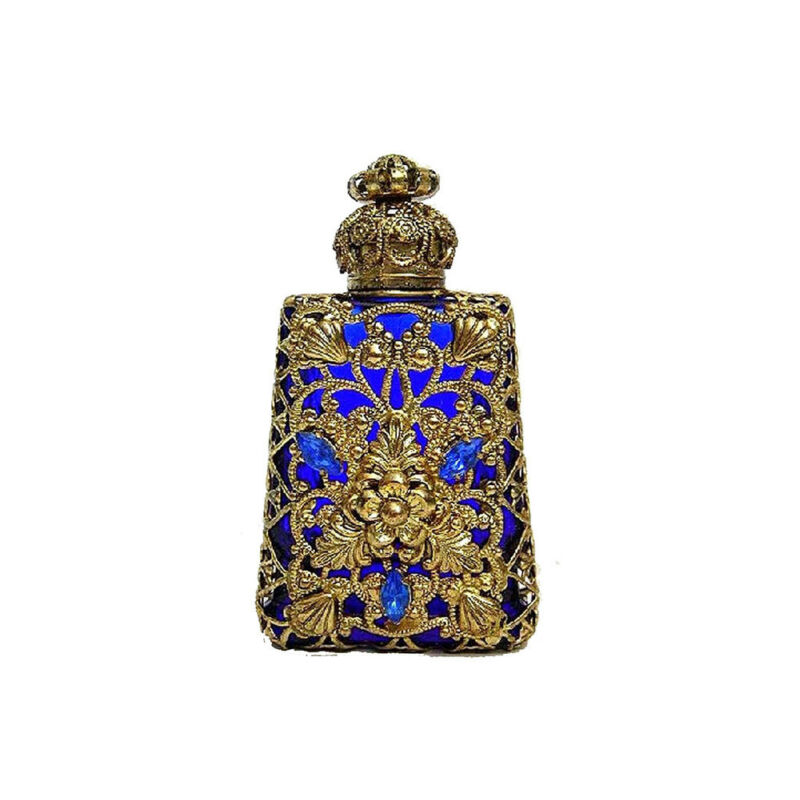 Czech Jeweled Decorative Blue w/ Gold Design Perfume Oil Bottle Holder