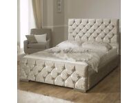 **70% SALE** Brand New Double Crushed Velvet Chesterfield Bed With Wide Range Of Mattress