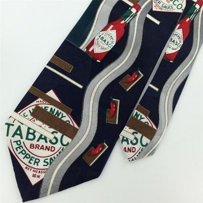 TABASCO SAUCE BOTTLES NAVY Red Art Deco Silk Mens Necktie Tie N1-120 Novelty for sale  Shipping to India