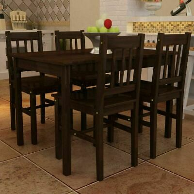 5pcs Modern Dining Table and 4 Chairs Set Pine Wood Home Kitchen Furniture Brown