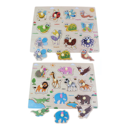 2X Wooden Peg Puzzle Jigsaw Education Toy for 1-4 Year Olds