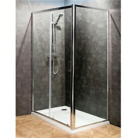 Bathroom Sliding Door Shower Enclosure. 1200x800 Tray, Waste and Side Panel.