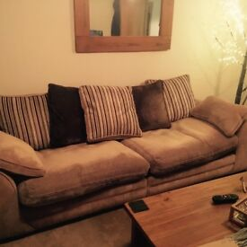 Four seater sofa, snuggle chair and large foot stool with storage.