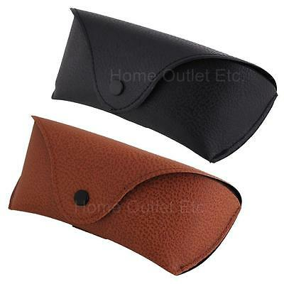 Faux Fake Leather Pebble Grain Semi-Hard Eyewear/Sunglasses Case w/Snap (Sunglass Buttons)