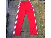 Adidas red firebird tracksuit bottoms xs