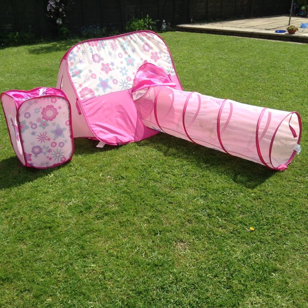 ELC Pop up tent tunnel and tidy in pink flowers & ELC Pop up tent tunnel and tidy in pink flowers | in Ipswich ...