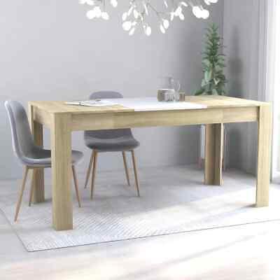 "vidaXL Dining Table Sleek Modern White Sonoma Oak 63"" Chipboard Home Dinner"