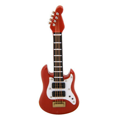 1:12 Dollhouse guitarra eléctrica de madera miniatura en el ornamento de