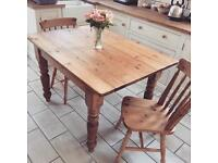 Farmhouse solid pine dining table and chairs (delivery available)