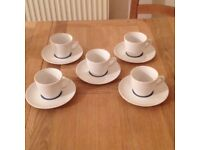 NEW 5 Piece Porcelain Tea Cups and Saucers Set - £5.00 only