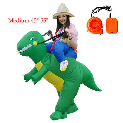Inflatable Ride Dinosaur Rider Costume Outfit Halloween Party Role 7-14 Years Gr