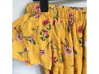 Floral yellow playsuit Bershka size S