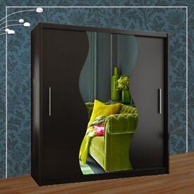 Brand New Contemporary Mirror Design Double Sliding Door Wardrobe Available in Black/White/Oak Color