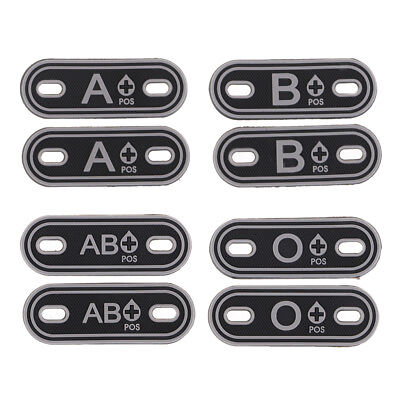 2Pcs Grey BLOOD TYPE Tactical Decorative Patches Rubber PVC Patch Hook/Loop - Blood Type Patches