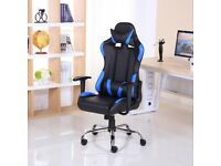 BRAND NEW RECLINING SPORTS RACING GAMING OFFICE COMPUTER CHAIR BLACK & BLUE
