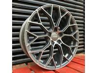 "Smoked Graphite Veemann V-FS66 Wheels New 18"" 5x112 Alloys VW Golf Audi A3 Seat Skoda"