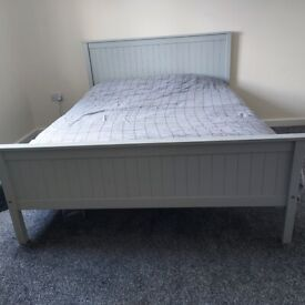 King-size bed frame and mattress