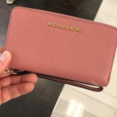 Michael Kors Women Leather Zip Around Card Holder Phone Case Wallet Clutch Purse