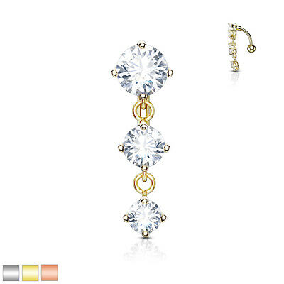 1pc Triple CZ Gems Top Drop Dangle Surgical Steel Reverse Belly Ring Navel Naval