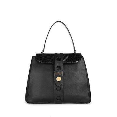 ISAAC MIZRAHI SOLID BLACK LEATHER OLIVIA SATCHEL HANDBAG BAG PURSE IM92232 $298