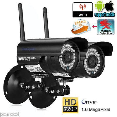 2X 720P HD IP Kamera WLAN Überwachungskamera Funk Netzwerk WIFI IP Camera Webcam