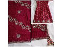 Maroon banarsi shalwar kameez, heavy embroidered dupatta, size 10, Indian / Pakistani