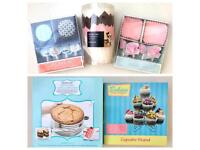 Baking items, cupcake stand, cake cases etc