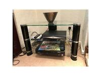 Tv stand - 3 tiers, glass and black/chrome