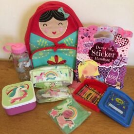 Lovely School set. Lunch box.. water bottle.. crayola box.. backpack. All NEW. Perfect present!