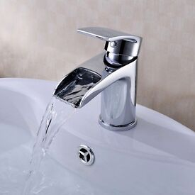 Brand New waterfall bathroom sink mixer tap with free pop up waste