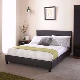 BLACK AND BROWN== BRAND NEW LEATHER DOUBLE BED WITH SEMI ORTHO DEEP QUILTED MATTRESS