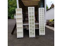 Soild white wood glass fronted shelves