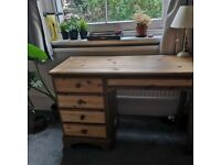 Ducal Very Well Built Solid Wood Pine Desk with 5 Drawers