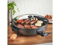 VonShef 1500W Round Multi Cooker, With Glass Lid, Non-Stick Surface, and Cool Touch Handles .
