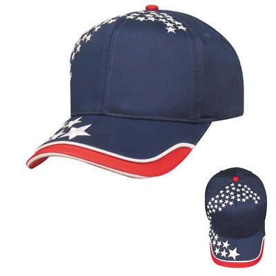 American Patriotische 6 Panel Baumwolle Twill Baseball (Patriotische Sterne)