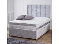 【BRAND NEW】CHOICE OF COLORS *** DOUBLE CRUSHED VELVET DIVAN BED BASE WITH DEEP QUILTED MATTRESS