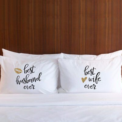 Pillowcases for Couples Best Husband & Wife Pillow Cover Gift Set